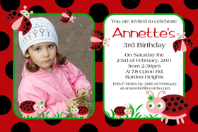 Girl Birthday Invitations and Thank You Photo Cards GB38-Photo cards, personalised photo cards, photocards, personalised photocards, personalised invitations, photo invitations, personalised photo invitations, invitation cards, invitation photo cards, photo invites, photocard birthday invites, photo card birth invites, personalised photo card birthday invitations, thank-you photo cards, lady bug birthday invitations, ladybug invitations