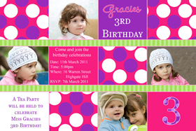 Girl Birthday Invitations and Thank You Photo Cards GB59-Photo cards, personalised photo cards, photocards, personalised photocards, personalised invitations, photo invitations, personalised photo invitations, invitation cards, invitation photo cards, photo invites, photocard birthday invites, photo card birth invites, personalised photo card birthday invitations, thank-you photo cards, star birthday photo invitations, spotted invitations, pink birthday invitations, pink spotted birthday invitations