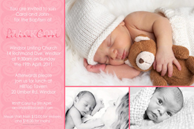 Girl Baptism, Christening and Naming Day Invitations and Thank You Photo Cards GC10-