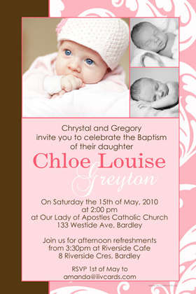 Girl Baptism, Christening and Naming Day Invitations and Thank You Photo Cards GC26-Photo cards, personalised photo cards, photocards, personalised photocards, personalised invitations, photo invitations, personalised photo invitations, invitation cards, invitation photo cards, photo invites, photocard birthday invites, photo card birth invites, personalised photo card birthday invitations, thank-you photo cards,