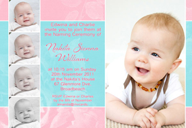 Girl Baptism, Christening and Naming Day Invitations and Thank You Photo Cards GC45-