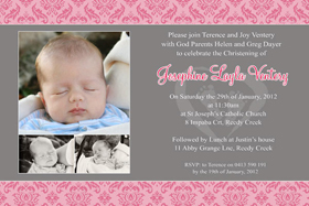Girl Baptism, Christening and Naming Day Invitations and Thank You Photo Cards GC47-