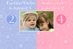 Brother and Sister Photo Birthday Invitations and Thank you Cards SB02-Brother and Sister Photo Baptism Christening Naming and Birthday Invitations and Thank you Cards
