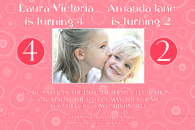 Sisters Photo Birthday Invitations and Thank you Cards SB03-Photo cards, personalised photo cards, photocards, personalised photocards, personalised invitations, photo invitations, personalised photo invitations, invitation cards, invitation photo cards, photo invites, photocard birthday invites, photo card birth invites, personalised photo card birthday invitations, thank-you photo cards,