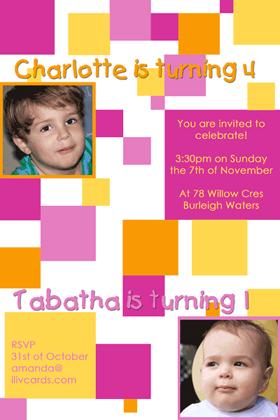 Sisters Photo Birthday Invitations and Thank you Cards SB06-Photo cards, personalised photo cards, photocards, personalised photocards, personalised invitations, photo invitations, personalised photo invitations, invitation cards, invitation photo cards, photo invites, photocard birthday invites, photo card birth invites, personalised photo card birthday invitations, thank-you photo cards,