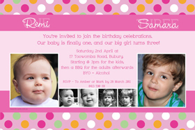 Sisters Photo Birthday Invitations and Thank you Cards SB09-Photo cards, personalised photo cards, photocards, personalised photocards, personalised invitations, photo invitations, personalised photo invitations, invitation cards, invitation photo cards, photo invites, photocard birthday invites, photo card birth invites, personalised photo card birthday invitations, thank-you photo cards,