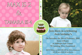 Brother and Sister Photo Birthday Invitations and Thank you Cards SB11-Sibling Photo Baptism Christening Naming and Birthday Invitations and Thank you Cards