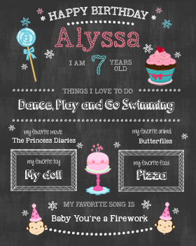 Girl Birthday Chalkboard Wall Art WA04-girl birthday, kids birthday, birthday customised print, wall art print, chalkboard, chalk art