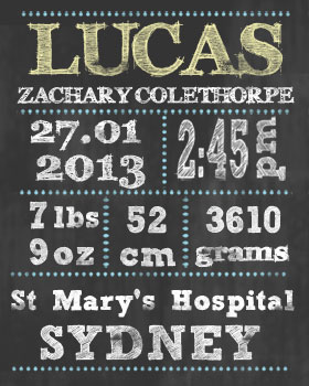 Boy Birth Announcement Chalkboard Wall Art WA08-birth announcement, wall art, customised wall art, nursery art