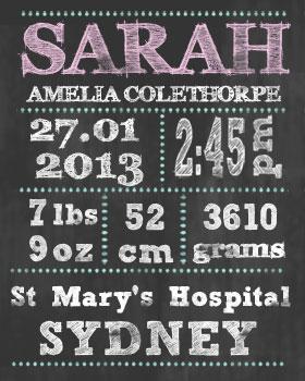 Girl Birth Announcement Chalkboard Wall Art WA09-birth announcement, wall art, customised wall art, nursery art