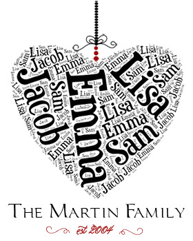 All In The Family Wall Art WA11-Family names, heart, wall art