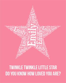 Twinkle Twinkle Personalised Girl Wall Art WA12-twinkle twinkle little star wall art, personalised name, wall art