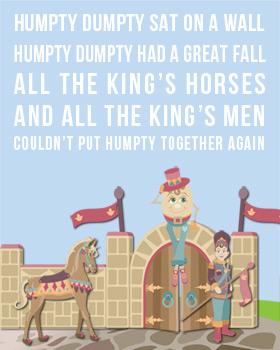 Humpty Dumpty Nursery Rhyme Bus Scroll Wall Art WA15-nursery rhyme wall art, baby wall art, bus scroll