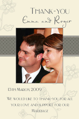 Wedding Thank You Photo Cards WT10-Photo Cards, Photo invitations, Birth Announcements, Birth Announcement Cards, Christening Photo Invitations, Baptism Photo Invitations, Naming Day Photo Invitaitons, Birthday  Photo Invitations, Pregnancy Announcement Cards,Thankyou Photo Cards