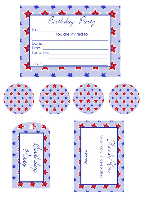 star birthday invitations, thank you, cake toppers and name tag free templates