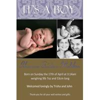 Birth Announcements and Baby Thank You Photo Cards for Boys - BA05