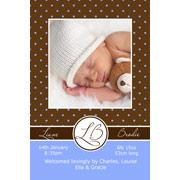 Birth Announcements and Baby Thank You Photo Cards for Boys - BA08