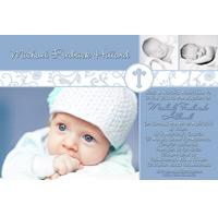 Boy Baptism, Christening and Naming Day Invitations and Thank You Photo Cards BC38-Photo cards, personalised photo cards, photocards, personalised photocards, personalised invitations, photo invitations, personalised photo invitations, invitation cards, invitation photo cards, photo invites, photocard birthday invites, photo card birth invites, personalised photo card birthday invitations, thank-you photo cards,