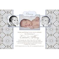 Boy Baptism, Christening and Naming Day Invitations and Thank You Photo Cards BC39-