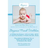 Boy Baptism, Christening and Naming Day Invitations and Thank You Photo Cards BC49-