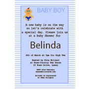 Baby Shower Photo Invitation - Baby Stripes in Blue