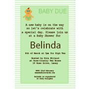 Baby Shower Photo Invitation - Baby Stripes in Sage