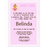 Baby Shower Photo Invitation - Baby Stripes in Pink