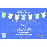 Baby Shower Photo Invitation - Baby clothes line blue