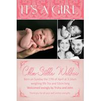 Birth Announcements and Baby Thank You Photo Cards for Girls - GA05
