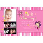Birthday Invitations and Thank you Photo Cards for Girls - GB04