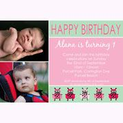 Birthday Invitations and Thank you Photo Cards for Girls - GB05