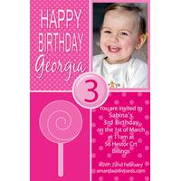 Birthday Invitations and Thank you Photo Cards for Girls - GB12