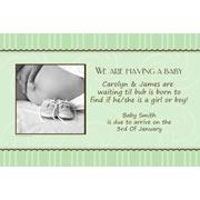 Pregnancy Announcements Photo Cards - Sage scallops-Photo cards, pregnancy announcements, pregnancy announcement cards, personalised cards, personalised photo cards, personalised pregnancy announcements