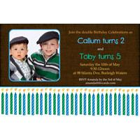 Brothers Photo Birthday Invitations and Thank you Cards SB22-Photo cards, personalised photo cards, photocards, personalised photocards, personalised invitations, photo invitations, personalised photo invitations, invitation cards, invitation photo cards, photo invites, photocard birthday invites, photo card birth invites, personalised photo card birthday invitations, thank-you photo cards, birthday candle invitations