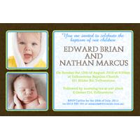 Brothers Photo Baptism Christening and Naming Invitations and Thank you Cards SC01-