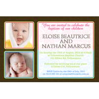 Sibling Photo Baptism Christening and Naming Day Invitations and Thank you Cards SC02-Sibling Photo Baptism Christening Naming and Birthday Invitations and Thank you Cards