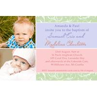 Sibling Photo Baptism Christening and Naming Invitations and Thank you Cards SC05-Sibling Photo Baptism Christening Naming and Birthday Invitations and Thank you Cards