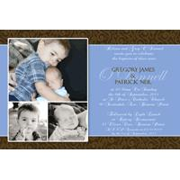 Brothers Photo Baptism Christening and Naming Invitations and Thank you Cards SC07-