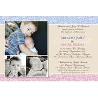 Sibling Photo Baptism Christening and Naming Day Invitations and Thank you Cards SC08-Sibling Photo Baptism Christening Naming and Birthday Invitations and Thank you Cards