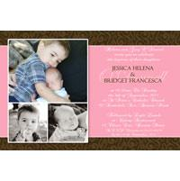 Sisters Photo Baptism Christening and Naming Invitations and Thank you Cards SC09-