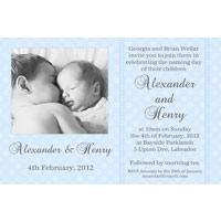 Brothers Photo Baptism Christening and Naming Invitations and Thank you Cards SC10-