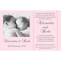 Sisters Photo Baptism Christening and Naming Invitations and Thank you Cards SC12-