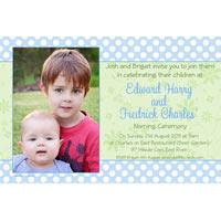 Brothers Photo Baptism Christening and Naming Invitations and Thank you Cards SC25-