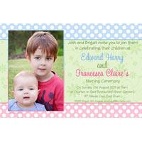 Sibling Photo Baptism Christening and Naming Day Invitations and Thank you Cards SC26-Sibling Photo Baptism Christening Naming and Birthday Invitations and Thank you Cards, spotted invitations, girl and boy invitations, brother and sister invitations
