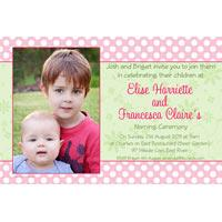 Sisters Photo Baptism Christening and Naming Invitations and Thank you Cards SC27-