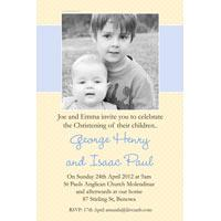 Brothers Photo Baptism Christening and Naming Invitations and Thank you Cards SC28-