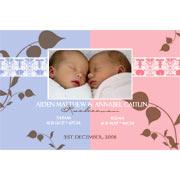 Birth Announcements and Baby Thank You Photo Cards for Twin Boy and Girl - TA01