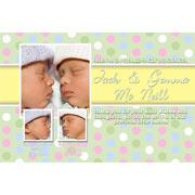 Birth Announcements and Baby Thank You Photo Cards for Twin Boy and Girl - TA07