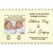 Birth Announcements and Baby Thank You Photo Cards for Twin Boy and Girl - TA10