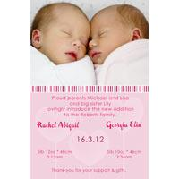 Twin Girl Birth Announcements and Baby Thank You Photo Cards TA27-Photo cards, personalised photo cards, photocards, personalised photocards, baby cards, personalised baby cards, birth announcements, personalised birth announcements, christening invitations, personalised christening invitations, personalised invitations, personalised announcements, invitations, announcements, photo invitations, photo announcements, personalised photo invitations, personalised photo announcements, announcement cards, announcement photo cards, photo christening invitations, photo announcements, birthday invitations, personalised birthday invitations, photo birthday invitations, photocard birth announcements, photo card birth announcements, personalised photo card birth announcement, personalised photo birthday invitation, personalised invites, birth celebrations, personalised celebrations, personalised birth celebrations, baptism invitations, personalised baptism invitations, personalised photo baptism invitations, pregnancy announcements, pregnancy announcement cards,  pregnancy cards, personalised pregnancy announcements, personalised pregnancy announcement cards, personalised pregnancy cards, baby shower invitations, personalised baby shower invitations, engagement invitations, personalised engagement invitations, photo engagement invitations, personalised photo engagement invitations, engagement photo cards, save the date cards, personalised save the date cards, photo save the date cards, wedding thank-you cards, personalised wedding thank-you cards, wedding thank-you photo cards,